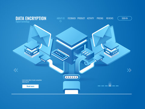 Data encryption process concept, data factory, automated sending email and messages