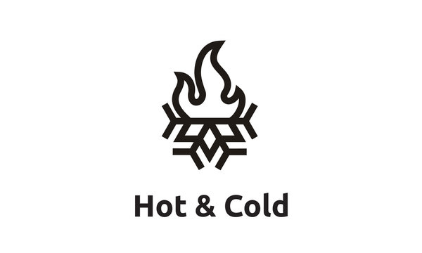 Plumb & Heat / Cold and Hot / Flame and Snowflake with simple line art style logo design inspiration