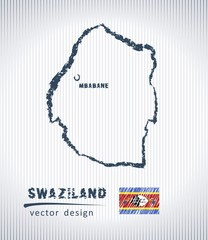 Swaziland national vector drawing map on white background
