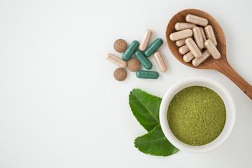 Herbal medicine on white background