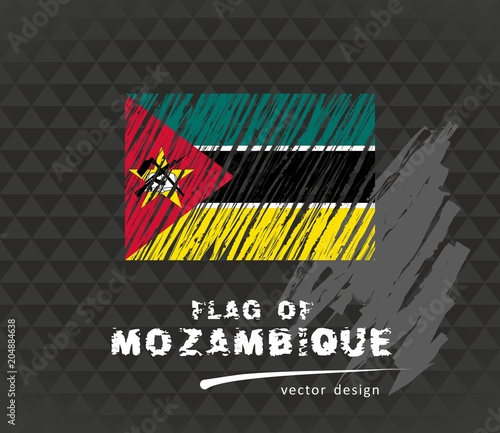 Mozambique flag, vector sketch hand drawn illustration on
