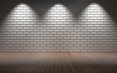 Empty room with brick wall and three light spots. 3d rendering
