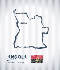 Angola vector chalk drawing map isolated on a white background