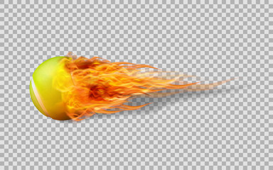 Realistic vector Tennis ball in fire on transparent background.
