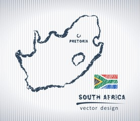 South Africa national vector drawing map on white background