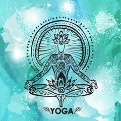 Man in lotus yoga pose on watercolor background