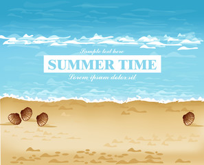 Beach shore summer card Vector. Waves, blue sea and Sand backgrounds