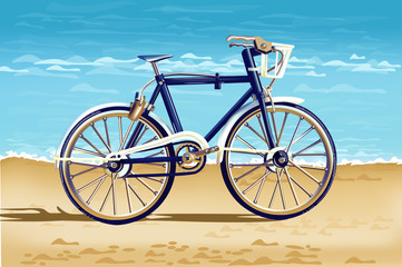 Realistic Bicycle on the beach card Vector. Detailed 3d illustrations