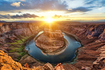 Horseshoe Bend and Colorado River at sunset