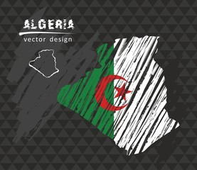 Algeria map with flag inside on the black background. Chalk sketch vector illustration
