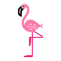 Flat colorful illustration of a pink flamingo character, on one leg, isolated.