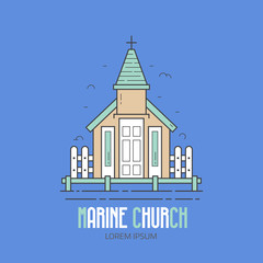 Marine church logo or label template in linear style. Sea chapel logotype in thin line design. Traditional sailor kirk icon.
