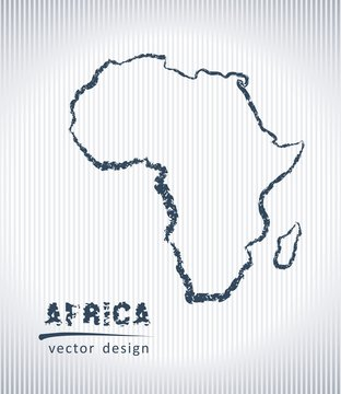 Africa national vector drawing map on white background