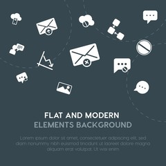 cloud and networking, charts, chat and messenger, email fill vector icons and elements background concept on dark background.Multipurpose use on websites, presentations, brochures an