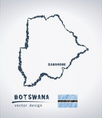 Botswana vector chalk drawing map isolated on a white background