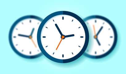 Three Clock icons in flat style, round timer on blue background. Business watch. Blurred objects. Vector design element for you project