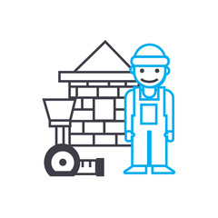 Assistant construction worker vector thin line stroke icon. Assistant construction worker outline illustration, linear sign, symbol isolated concept.