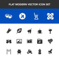 Modern, simple vector icon set with furniture, food, old, bar, beauty, white, floral, coffee, cocktail, alcohol, dessert, picture, frame, web, bouquet, blossom, ice, astronomy, universe, space icons