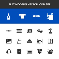 Modern, simple vector icon set with fashion, light, bag, bar, sun, layout, sunset, blue, photo, nature, image, juice, frame, clothing, table, drink, pub, face, beer, , business, mountain, glass icons