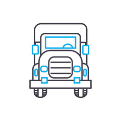 Big rig vector thin line stroke icon. Big rig outline illustration, linear sign, symbol isolated concept.
