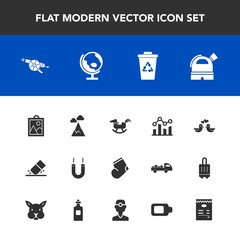 Modern, simple vector icon set with weapon, image, garbage, military, globe, dove, finance, observatory, landscape, trend, waste, graph, magnetic, gun, horse, chart, toy, winter, energy, clothes icons