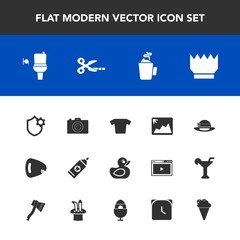 Modern, simple vector icon set with internet, musical, wc, drink, clothes, brush, child, hot, care, toilet, dessert, frame, crown, clothing, play, queen, technology, hygiene, tool, king, photo icons