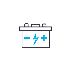 Car battery vector thin line stroke icon. Car battery outline illustration, linear sign, symbol isolated concept.