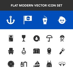 Modern, simple vector icon set with travel, account, baby, pinafore, technology, chair, user, marine, anchor, sign, asia, tennis, bed, glass, wine, medicine, furniture, builder, cup, alcohol icons