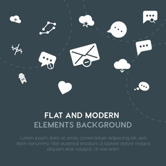 cloud and networking, charts, chat and messenger, email fill vector icons and elements background concept on dark background.Multipurpose use on websites, presentations, brochures and more.