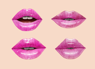 Pink sensual juicy lips collection. Mouth set. Vector lipstick or lip gloss 3d realistic illustration.