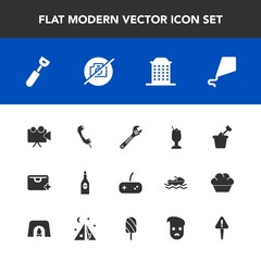 Modern, simple vector icon set with wrench, kitchen, spoon, joy, summer, drink, wine, mark, kite, sign, phone, alcohol, tool, video, cocktail, camera, bar, house, sky, glass, exclamation, bag icons