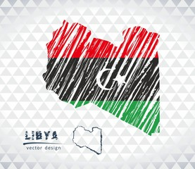 Libya vector map with flag inside isolated on a white background. Sketch chalk hand drawn illustration