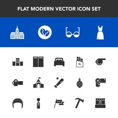 Modern, simple vector icon set with hammer, dress, object, religion, car, architecture, photography, female, entrance, sweet, home, wrench, market, camera, caffeine, photographer, whistle, store icons