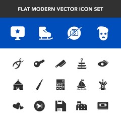 Modern, simple vector icon set with key, sign, star, fork, camera, kitchen, medical, accounting, health, music, table, cold, calculator, computer, plate, drill, hipster, winter, dinner, dentist icons