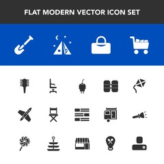 Modern, simple vector icon set with kite, tool, travel, cart, oxygen, news, outdoor, internet, armchair, brush, tank, rocket, adventure, construction, contact, power, newspaper, leisure, charger icons