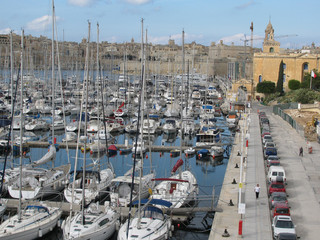 Panoramic harbour view in the capital of Malta-Valletta