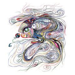Magic mother fish. Watercolor drawing.