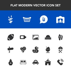 Modern, simple vector icon set with american, direction, duck, christmas, fireplace, ball, sunset, call, sunrise, flower, stadium, frame, photo, sign, phone, floral, dessert, harvest, picture icons