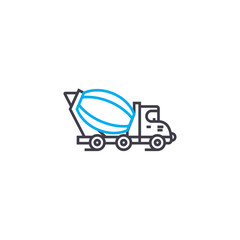 Concrete mixer vector thin line stroke icon. Concrete mixer outline illustration, linear sign, symbol isolated concept.