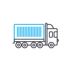 Container carriage vector thin line stroke icon. Container carriage outline illustration, linear sign, symbol isolated concept.