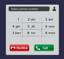 Keypad with numbers and letters for phone. User interface keypad for smartphone. Keyboard template in touchscreen device.