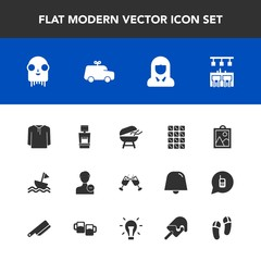 Modern, simple vector icon set with young, clothing, ufo, barbecue, machine, profile, account, meat, alcohol, sweet, bbq, glass, food, girl, space, drink, scan, face, chocolate, image, play, toy icons