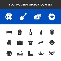 Modern, simple vector icon set with double, file, red, poker, plate, armchair, chair, clothing, kid, food, spoon, emergency, health, glass, fast, vessel, furniture, french, construction, shovel icons