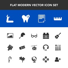 Modern, simple vector icon set with hippie, picture, ticket, vest, protective, sky, hair, guitar, beauty, style, paint, frame, blue, jacket, treadmill, musical, sunglasses, image, airplane, bird icons