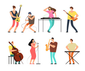 Music band musicians with musical instruments playing music on stage vector set isolated