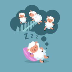 Counting sheep to sleep at night. Jumping lamb to happy dream cartoon vector illustration