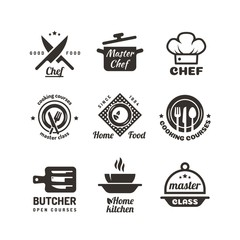 Cooking master classes labels. Restaurant or cafe menu emblems. Chef vector logo isolated on white background