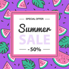 Summer sale banner with frangipani flower. Banner with watermelon.