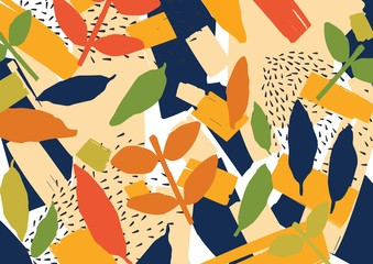 Creative abstract background with scattered stylized leaves. Modern bright colored horizontal backdrop with natural decorations. Trendy decorative vector illustration in contemporary art style.