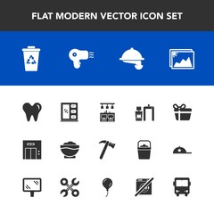 Modern, simple vector icon set with box, modern, elevator, recycling, present, tool, dental, furniture, interior, healthy, scan, cabinet, machine, celebration, garbage, waitress, equipment, food icons
